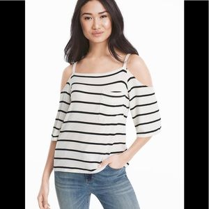 White House Black Market Stripe Cold Shoulder S